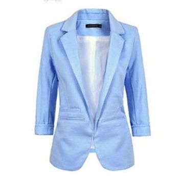 2016 New Women Casual Slim Suit Blazer Jacket Coat 3/4 Sleeve Outwear Business Blazer Hot Sale
