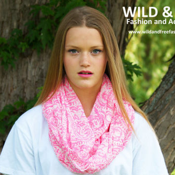 Infinity Scarf, Boho, Accessories for Women, Bohemian, Scarves for Women, Pink Infinity Scarf