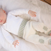 PATTERN Crochet Baby Clothes 'The Patched Romper' Pants Infant Boy or Girl