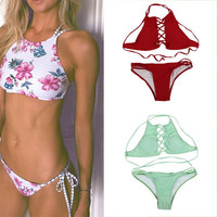 Women Floral Print Bikini Set Halter Crop Top Hang High Neck Push Up Bikinis Swimwear Women Swimsuit Beach Bathing Suit
