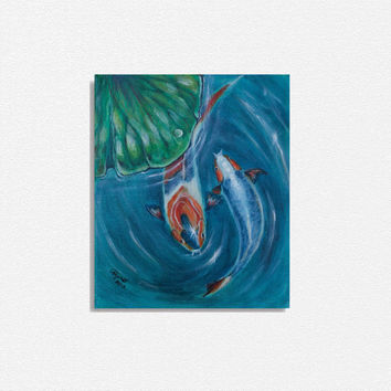 feng shui koi fish painting, original acrylic painting, lotus leaf, fish in water, blue turquoise green orange home decor, handmade item