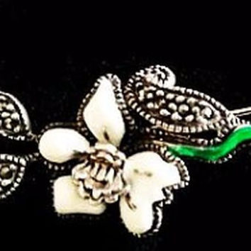 "JUDITH JACK Stick Pin Brooch Signed Sterling White Green Enamel Marcasite Flower 3"" Vintage"