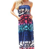 Chicloth Baby Blues Multi Print Strapless Maxi Boho Dress