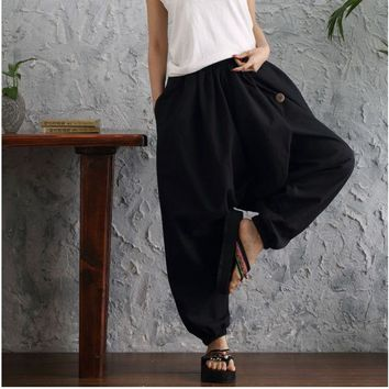 DCCKDZ2 Women Pants Cross Pants Large Size Wide Leg Pants Dancing Pants Sashes Casual Trousers Big Botton Linen Cotton Solid Color Pants