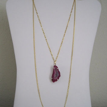 Wild Orchid Pink Fuchsia Raw Rock Mineral Crystal Slice Geode Agate Layered 2 Strand Goldtone Necklace