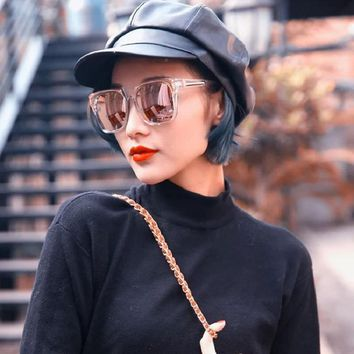 Women Large Square frame Sunglasses Transparent Summer New fashion candy color Coating Glasses