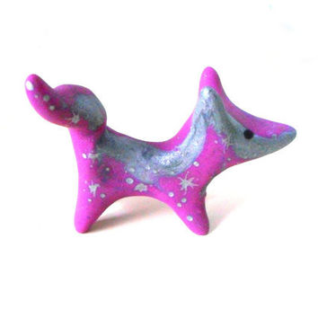 Pink and silver nebula fox, galaxy animal figure in polymer clay with silver stars