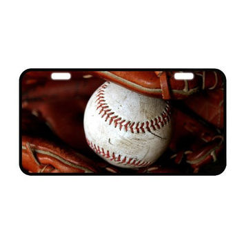 """Baseball with Vintage Baseball Glove Metal License Plate Frame for Car, Car Tags Cover - 11.8"""" x 6.1"""""""