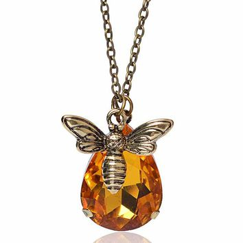 New Copper Crystal Bumble Bee Necklaces Pendants Lovely Honey Bee Necklaces Jewelry Lover Gift Graduation Romantic Necklace