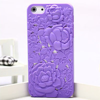 Purple Silicone Peony Carved Case for iPhone5