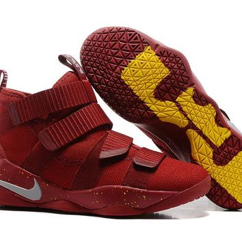 VAWA Nike Zoom Air Men's Lebron Soldier 11 Basketball Shoes Red Yellow