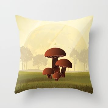 mushroom house Throw Pillow by Berwies