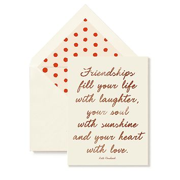 Friendships Fill Your Life (Vertical) Greeting Card, Single Folded Card or Boxed Set of 8