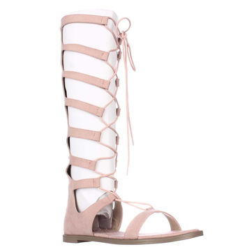 Chinese Laundry Galactic Tall Lace Up Gladiator Sandals - Blush