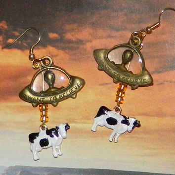 Alien Abduction of Cows Earrings, Black and White, Bronze Tone UFO Extraterrestrial Flying Saucer