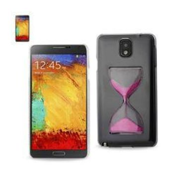 REIKO SAMSUNG GALAXY NOTE 3 3D SAND CLOCK CLEAR CASE IN HOT PINK