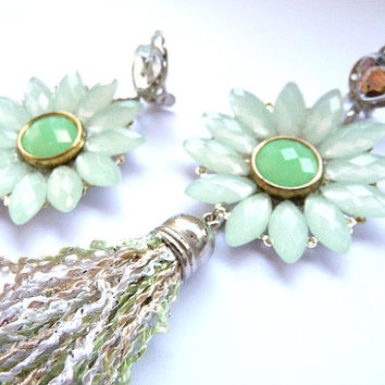 Tassel earrings, Fringe earrings, Green earrings, long earrings, big earrings, round earrings, flower earrings, chalcedony green, sea foam,