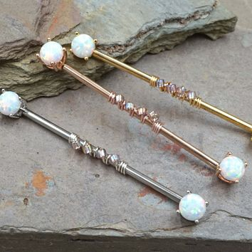 White Opal Industrial Barbell