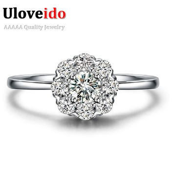 Ladies Big Stone Silver Rings for Women Christmas Gift Fashion Foreign Jewelry Cute Artificial Flowers CZ Diamond Ring PJ002