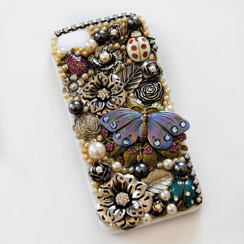 iPhone 5 Case, Butterfly. Beads, Crystal, Rhinestone, Jewels, Kawaii, Lolita, Holder, Cover - SPRINGTIME