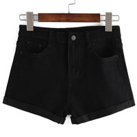 Black Roll-Up Hem Denim Short