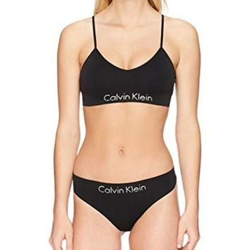 DCCKG2C Calvin Klein Women's Horizon Seamless Bralette and Thong Set