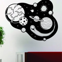 Planets Outer Space Stars Moon Sun Earth Decal Sticker Wall Vinyl Art Home Room Decor