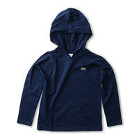 Lacoste Kids Boys' L/S Jersey Hoodie Tee (Toddler/Little Kids/Big Kids) Ship Blue - Zappos.com Free Shipping BOTH Ways