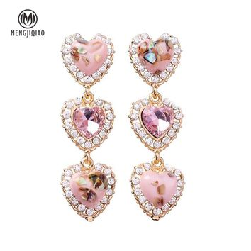 MENGJIQIAO New Colorful Shell Love Heart Crystal Long Pendientes Mujer Moda Statement Rhinestone Drop Earrings For Women