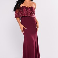 Social Gathering Flounce Dress - Wine