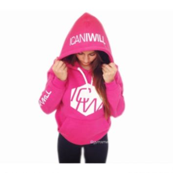 ICANIWILL Women Pink Hoodie