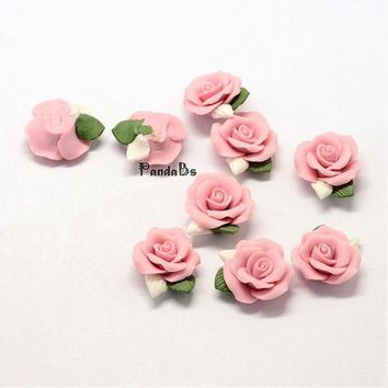 ac spbest Handmade Porcelain Cabochons, China Clay Beads, Flower, Pink, 23~25x20.5~21x10~11mm