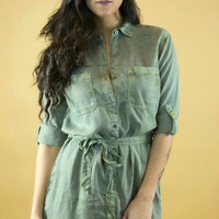 Sneak Peek | Sashed Chambray Shirt Dress in Olive
