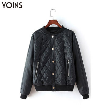 YOINS 2016 Fashion Diamond Quilted Faux Leather Biker Jacket Women Autumn Winter Warm Long Sleeves Solid Coats Casual Outerwear
