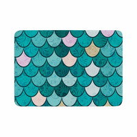 "Famenxt ""Mermaid Fish Scales"" Teal Nautical Illustration Memory Foam Bath Mat"