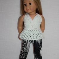 18 inch doll clothes, white sparkle crochet halter top, crop top, bralette, black and white leggings, Upbeat Petites