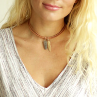 Crystal Leather Choker with Gold Feather Brown
