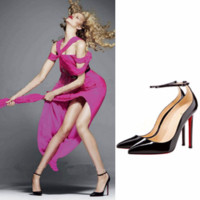 Stylish Wavy Ankle Strap Stiletto High Heels