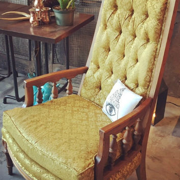 GOLD VINTAGE HIGH BACK CHAIR