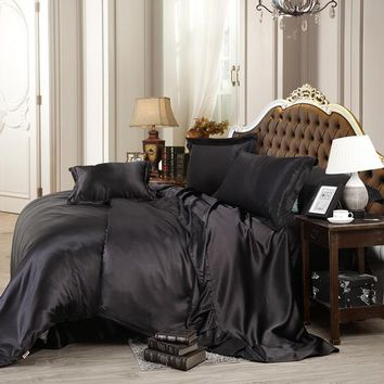 4 Pcs Black Soft Satin Bedding Set Sheet Pillowcase Duvet Cover Set Queen Size Home Textile U1315