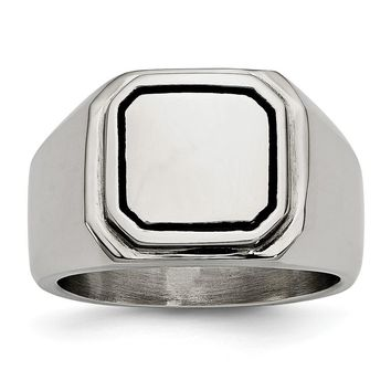 Men's Stainless Steel Black Enameled Ring - Engravable Personalized Gift Item