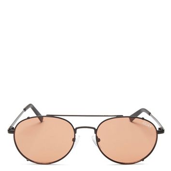 quay australia x sophia richie - Little J aviator sunglasses - black/peach