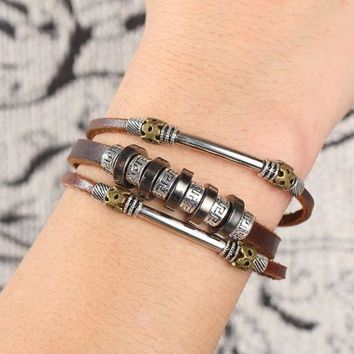 ONETOW Fashion personality punk wind back word pattern leather bracelet braided men pu leather bracelet leather jewelry