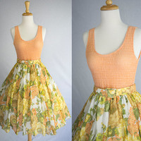 Vintage 70s Wildflower Pin-up Circle Skirt Sun Dress and Top