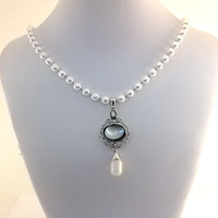Necklace White Czech Glass Pearls With Shell and Silver Pendant