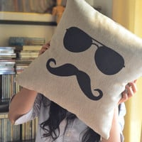 Shades & Moustache Cotton and Linen Pillow