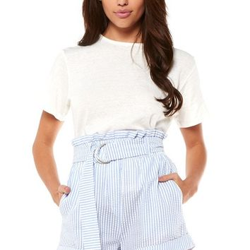 Stripe D-Ring Paperbag Shorts - Light Blue/White