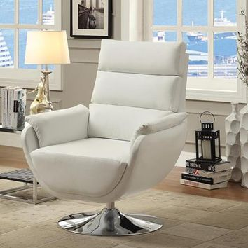 Pilsner Contemporary Leatherette Swivel Accent Chair in White