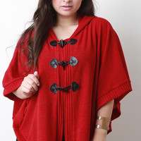 Hooded Knit Toggle Poncho
