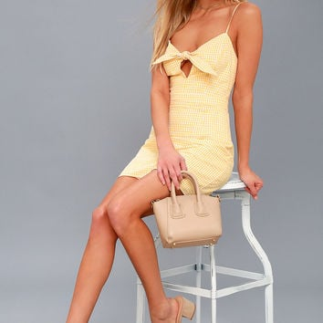 Music City White and Yellow Gingham Tie-Front Dress